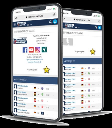 transfermarkt website on two smartphones
